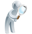 magnifying glass silver man vector image vector image