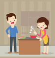 man and woman in the kitchen vector image vector image
