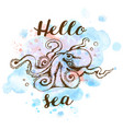 marine background with octopus vector image vector image