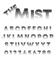 mist alphabet template letters and numbers vector image