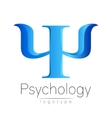 Modern logo of Psychology Psi Creative style vector image