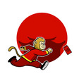 Monkey Pursue Lucky Red Envelope vector image