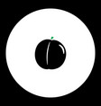peach fruit simple black and green icon eps10 vector image vector image