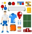 ping pong icons set sport equipment and uniform vector image