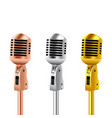 retro microphones copper silver and gold vector image vector image