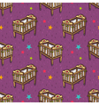 seamless pattern with wooden decorated baby crib vector image vector image
