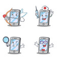 Set of iphone character with nurse magnifying geek vector image