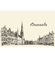 Streets in Brussels engraved drawn sketch vector image vector image