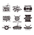 tailor salon advertisement logotypes set logos vector image vector image