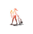 traveler woman luggage tourist vector image vector image