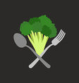 Vegetarian logo Broccoli with a fork and spoon vector image