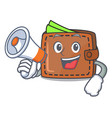 with megaphone wallet character cartoon style vector image vector image