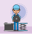 worker mechanic holding wheel and radiator car vector image vector image