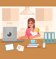 working woman with child home room interior vector image