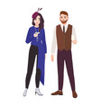 young romantic couple dressed in elegant stylish vector image vector image