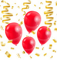 celebration party red balloons confetti ribbon vector image