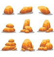 Collection golden stone set art vector image