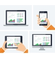 Flat infographic with graphs and charts vector image