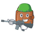 army wallet character cartoon style vector image vector image