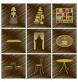 assembly flat shading style icons interior vector image vector image