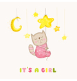 Baby Girl Cat Sleeping on a Star - Baby Shower vector image
