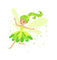 beautiful smiling green fairy girl flying colorful vector image vector image