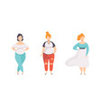 beautiful stylish plump women set plus size vector image vector image