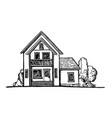 black and white sketch of a cottage vector image