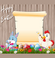bunny and rooster painting egg with blank sign vector image vector image