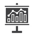 business growing chart on board solid icon vector image vector image