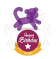 cute balloon cat happy birthday confetti ribbon vector image vector image