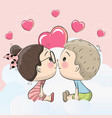 cute cartoon boy and girl are kissing vector image vector image