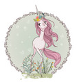 cute cartoon unicorn vector image