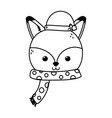 cute fox with hat and scarf merry christmas thick vector image vector image
