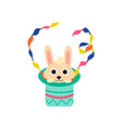 cute rabbit appearing from magician hat funny vector image vector image