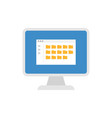 desktop computer with folders icon vector image vector image