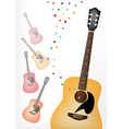 Elegance Guitar on Colorful Guitars Background vector image vector image