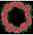 embroidery roses frame on black background vector image