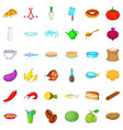 gastronomy icons set cartoon style vector image vector image