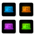 glowing neon medical clinical record on laptop vector image vector image