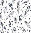 Graphic feathers seamless pattern ornate design vector image vector image