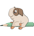 guinea pig with a pencil cartoon vector image