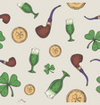 hand drawn leprechaun pipe golden coins and green vector image