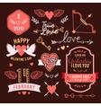 hand-lettered vintage st valentines card elements vector image vector image
