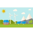 House with solar panels and wind mills vector image vector image