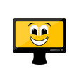 isolated happy computer screen emote vector image vector image