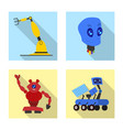 isolated object of robot and factory logo vector image vector image