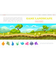 isometric game landscape web page template vector image vector image