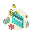 isometric style with a bank cards vector image