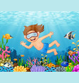 little boy diving in the sea vector image vector image